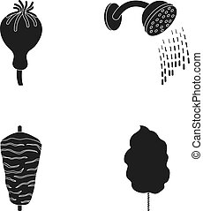 Poppy head, shower and other web icon in black style. meat on a spit, sweet cotton icons in set collection.