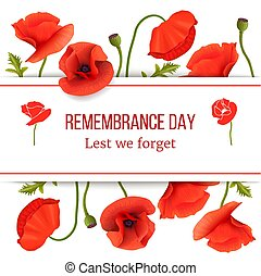 Poppy red flowers card template with copy space on stripe. Remembrance Day. Stems, leaves and pods.