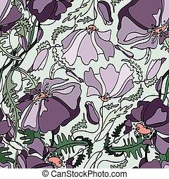 Poppy seamless pattern