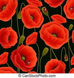 Romantic floral seamless pattern of poppy flowers and ladybirds vector illustration