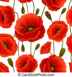 Vibrant floral seamless pattern of poppy flowers and blossoms with lady birds vector illustration