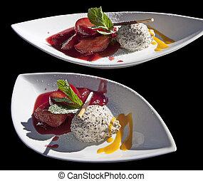 poppy-seed, dessert:, fruits, mousse, rhum