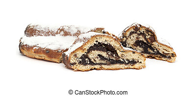 poppy seed strudel isolated on white background