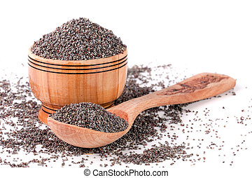 poppy seeds in a wooden bowl and spoon isolated on white background