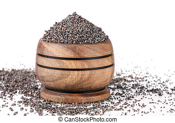 poppy seeds in a wooden spoon isolated on white background