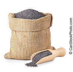 poppy seeds in bag and scoop