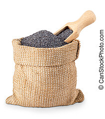 poppy seeds in bag with scoop