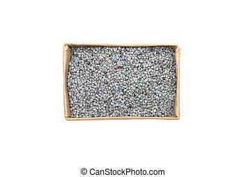 Poppy seeds in carton on white background