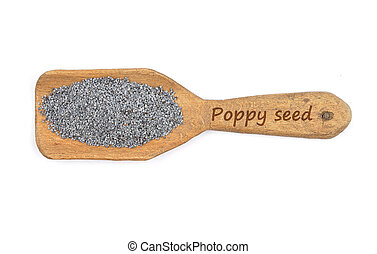 Poppy seeds on shovel