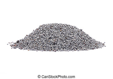 Poppy seeds on white background