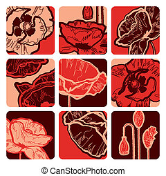 Poppy squares - Decorative poppy squares. Vector ...