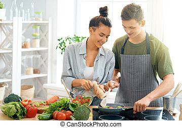 poprawny, para, kochający, mąka, przygotowując