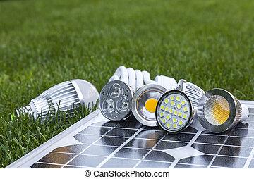 poprowadzony, komórki, lampy, cfl, różny, trawa, photovoltaic