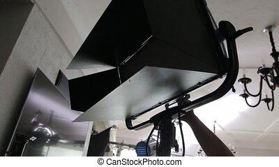 poprowadzony, komplet, oświetlenie, film