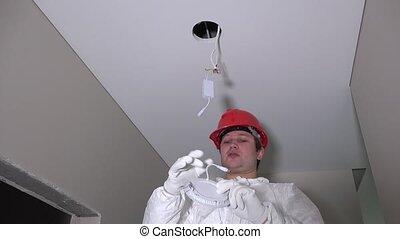 poprowadzony, liny, elektryczność, elektryk, druty, człowiek...