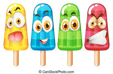 popsicle, à, expression faciale