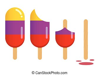 Popsicle Ice Cream in Different Stages of Eating - Vector...
