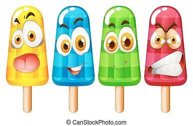 popsicle, mit, gesichtsausdruck