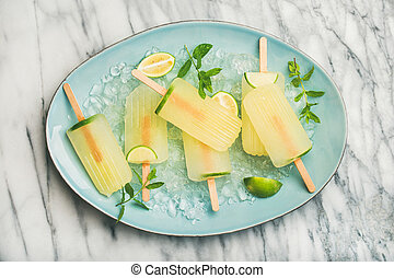 popsicles, limette, blätter, minze, eis, limonade, angeschlagen, sommer