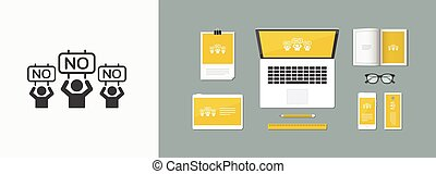 populär, bekundung, mit, signboards, -, vektor, web, ikone