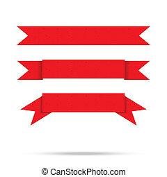 populär, röd remsa, gammal, papper, årgång, etikett, baner,...