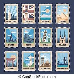populär, värld, retro, pekar, stamps., dragningar, mest, stämpling, berömd, vektor, årgång, isolerat, vykort, stämpel, milstolpar, medborgare, set., poststämpel, porto, resa, ikon, lägen