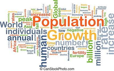 população, crescimento, fundo, conceito