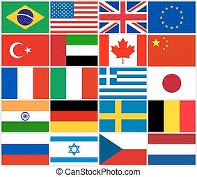 populair, land, set, vlaggen