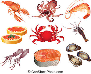 populair, seafood, vector, set