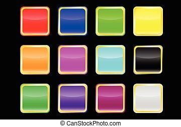 populaire, couleur, vecteur, boutons