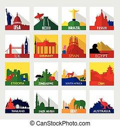 populaire, mondiale, tourisme, taches, icônes