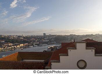 populaire, touriste, houses., scénique, porto, rivière, orange, vue, toits, destination., douro, portugal.