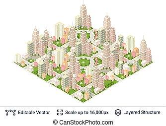 populaire, ville, isométrique, structures.