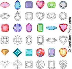 Low poly popular colored gems cuts isolated on white background, vector illustration