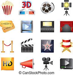 popular, conjunto, cine, vector, iconos