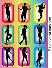 popular, dança, modelo, silueta, ídolo