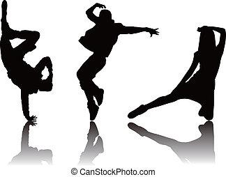 popular, dançarino, silueta