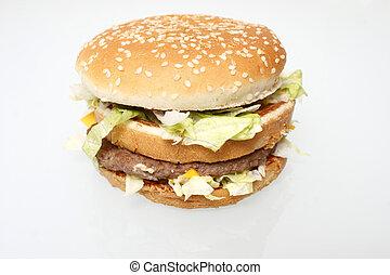Popular fast food hamburger