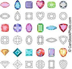 popular, gemas, coloreado, cortes