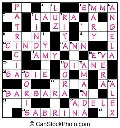 Popular Girls Names Crossword
