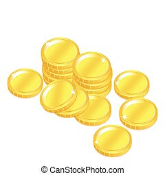popular gold coin penny stack isolated background