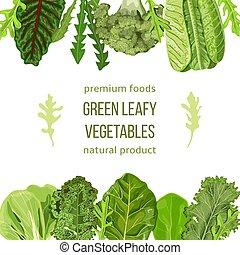 Popular Green leafy vegetables card template. Vegetable...