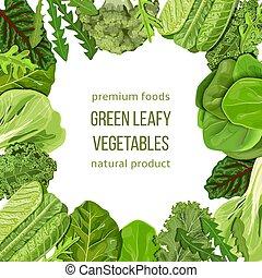 Popular Green leafy vegetables frame, boxing, bordering....