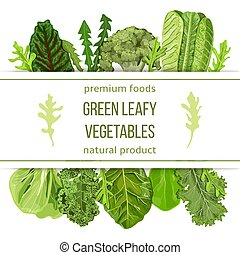 Popular Green leafy vegetables. Label set with text on...