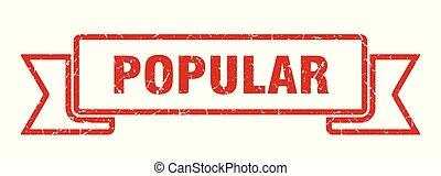 popular grunge ribbon. popular sign. popular banner