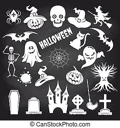 Popular halloween elements set on chalkboard