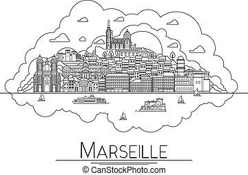 popular, icon., edificios, uno, francia, vector, marsella, señales, ciudad, ilustración, arte, símbolos, línea, más, arquitectura, turista, destinaciones, calles, viaje, catedrales