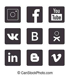 popular, logotipos, conjunto, medios, social