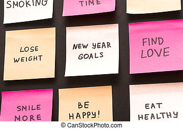 Popular new year goals or resolutions on a blackboard