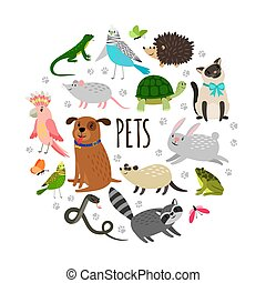 Popular pets round banner design. Vector cartoon animals isolated on white background